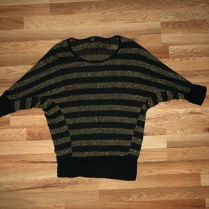 Forever 21 Black and Gold Strip Sweater